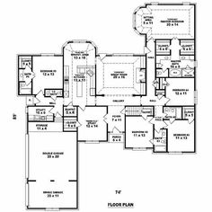 5 Bedroom House Plans 5 Bedrooms, 4 Batrooms, 3 Parking Space, On 1 Levels,  Floor Plan