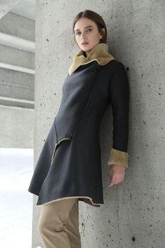 KOJA | Women's Black-Beige Asymmetric Shearling Coat | Designed in NYC | Made in Germany | Free Shipping & Returns
