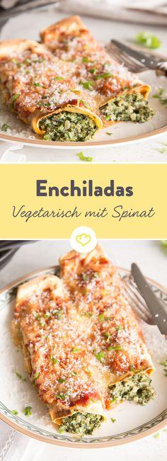 Enchiladas sind auch ohne Fleisch eine echte Gaumenfreude: Würziger Spinat und cremiger Ricotta werden zu einer Füllung, die selbst überzeugte Fleischesser nichts vermissen lässt. Mit Chili-Sauce im Ofen gebacken und mit Käse gratiniert, ein heißer Leckerbissen aus dem Ofen.