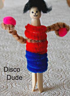Wooden peg doll 'Disco Dude'
