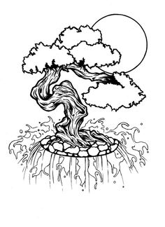 Bonsai Tattoo by Burnt-Casserole on DeviantArt Bonsai Tree Tattoos, Japanese Bonsai Tree, Bonsai Styles, Tattoo Outline, Japanese Art, Tattoo Inspiration, Tatoos, Ink, Landscape