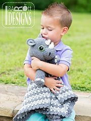 Ravelry: Riley Rhino the Rhinoceros Snuggle Blankey Lovey Blanket PDF Crochet Pattern pattern by Ira Rott $5.50 CAD