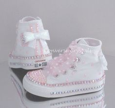 Baby/Toddler/Girls Custom Crystal *Bling* Converse - Double Row Crystals All Infant Sizes Bling Baby Shoes, Cute Baby Shoes, Baby Bling, Baby Girl Shoes, Girls Shoes, Bedazzled Converse, Baby Converse, Baby Sneakers, Baby Boots