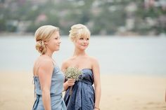 Bridesmaids in blue - loving the more dusty blues