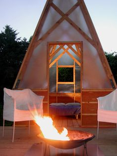 four room mini-retreat -- mom what if we built some structures like this??? might be just as expensive as renting RVs!