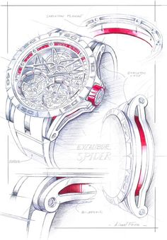 Having already shown you the spectacular Roger Dubuis Excalibur Spider Skeleton Flying Tourbillon and Excalibur Automatic Skeleton Jewellery Sketches, Jewelry Drawing, Cool Sketches, Drawing Sketches, Watch Sketches, Sketching, Disney Drawings, Cartoon Drawings, Watch Drawing