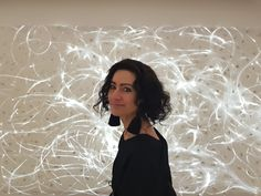 """The thin fibre optics of LIGHT\TRACE No. 1 are embedded in hand-made paper and gilded. The light installation creates a stunning atmosphere in the room. Shown in my solo exhibition """"The Language of Light"""" at Gallery Göttlicher, Krems, in 2018. www.ATARA-design.com  #ATARAdesign #lightspot #lightobject #lightinstallation #lightsculpture #ATARAdesign"""