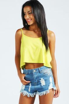 Reese Studded Frayed Denim Hotpants at boohoo.com
