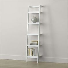 Sawyer White Leaning Bookcase - Crate and Barrel Deep Shelves, Bookcase Shelves, Corner Shelves, Ladder Bookcase, Shelving, Glass Shelves, Bookcases, Ladder Storage, Bookcase White