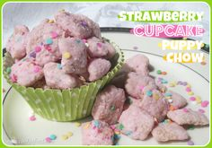 Strawberry Cupcake Puppy Chow perfect for the whole family. make for parties, movie or game nights, and get togethers of all kinds!