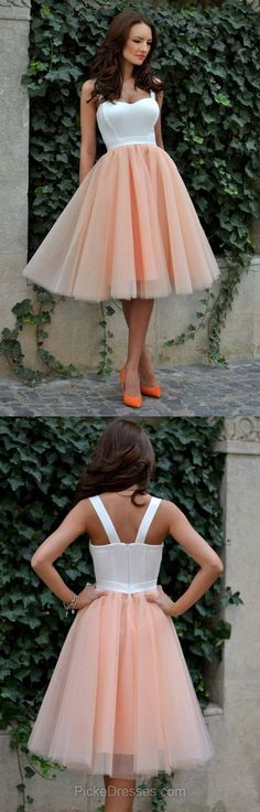 Short Prom Dresses 2018, Cheap Homecoming Dresses Tea-length, A-line Party Dresses Sweetheart, Tulle Ruffles Cocktail Dresses For Girls