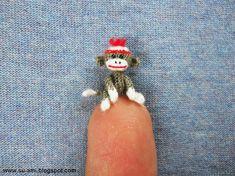 Tiniest Sock Monkey  Micro Amigurumi Crochet Miniature by SuAmi, $95.00
