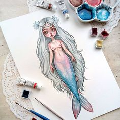 Another little mermaid! Mermaid Tale, Cute Mermaid, The Little Mermaid, Drawing Sketches, Art Drawings, Mermaid Drawings, Pop Surrealism, Various Artists, Travel Posters