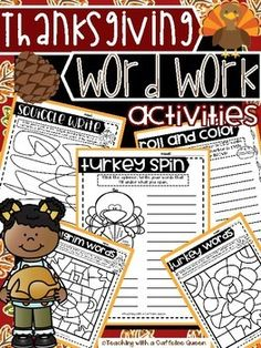 Thanksgiving Word Work Activities - NO PREP - Use with ANY Word List