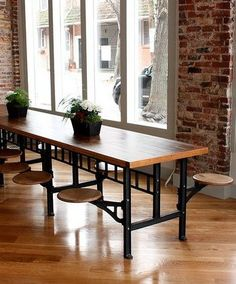 We found one of these in the former Philadelphia Tasty Cake Lunchroom and were inspired to make them ourselves. These great communal tables were used in lunchroom cafeterias at factories and schools a