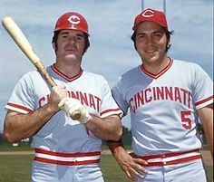 This is an image of Pete Rose and Johnny Bench. Both Pete and Johnny played together and Cincinnati, Ohio where they won a World Series in 1976 beating the New York Yankees in four straight games. Cincinnati Reds Baseball, Baseball Star, Baseball Games, Baseball Players, Pittsburgh Steelers, Dallas Cowboys, Pete Rose, Cincinnati Museum, Johnny Bench