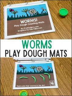 These worms play dough math mats will make your preschoolers love to practice counting! Print the mats and use with play dough for fine motor and math. April Preschool, Preschool Garden, Preschool Lesson Plans, Preschool Themes, Preschool Science, Preschool Learning, Early Learning, Learning Activities, Numbers Preschool