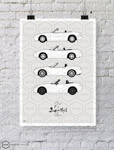 Mazda Miata MX5 Generations Poster