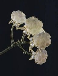 René Lalique Art Nouveau Diamond, Crystal and Gold Floral Hat Pin at 1stdibs