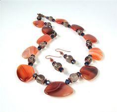 Orange statement necklace chunky bead by sparklecityjewelry