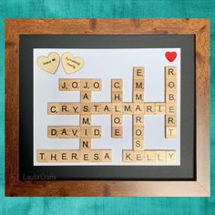 Special personalised frame for a nana #nana #family #scrabbleframe Scrabble Frame, Scrabble Art, Scrabble Tiles, Personalised Frames, Different Colors, First Love, My Etsy Shop, Handmade Gifts, Crafts