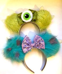 Excited to share this item from my shop: Monsters Inc inspired ears, mickey / minnie ears, headband, mike and sully Disney Cute, Diy Disney Ears, Disney Mickey Ears, Disney Diy, Disney Crafts, Disney Halloween Ears, Micky Ears, Disney Minnie Mouse Ears, Disney Headbands