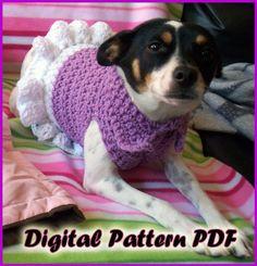 Crochet Collared Dog Dress Pattern PDF Extra by DesignVigilante, $4.00