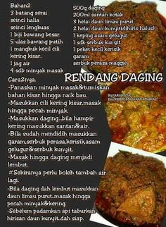 Rendang daging My Recipes, Asian Recipes, Beef Recipes, Cooking Recipes, Malay Food, Low Calorie Dinners, Asian Beef, Good Food, Yummy Food