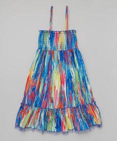 Look at this #zulilyfind! Blue & Yellow Rhinestone Convertible Dress - Girls by Squeeze #zulilyfinds