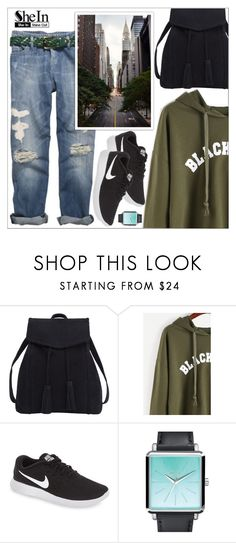 """Print Raw Hem Crop Sweatshirt from SheIn"" by lookat ❤ liked on Polyvore featuring Violeta by Mango, NIKE and Nixon"