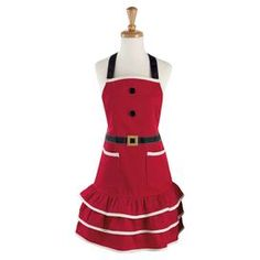 "Cotton apron with a Santa Claus suit-inspired design and ruffled hem.  Product: ApronConstruction Material: 100% CottonColor: MultiDimensions: 29"" H x 35"" WCleaning and Care: Machine washable"