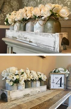 Rustic Centerpiece Offers a Warm Welcome Decorative Accessories, Decorative Boxes, Decoration Entree, Small Wood Projects, Rustic Centerpieces, Dream Home Design, Creative Home, Wood Crafts, Jar Crafts