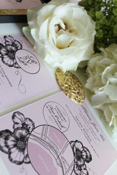 Pink, Gold and Black Boxed Wedding Invitation Designed by #inkandpaper @Lisainkandpaper #wedding invitations