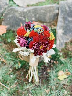 Photographed by Reid Lambshead -whenhefoundher.com   fall wedding bouquet roses wedding bouquets