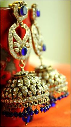 Indian Jhumkas made of Gold with Blue stones