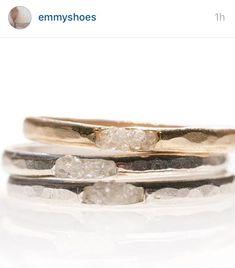 Rough cut diamond rings