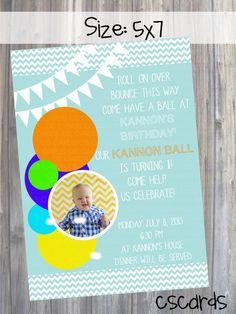 Balls Themed Birthday Party Invitation! Digital Copy Only! on Etsy, $12.00