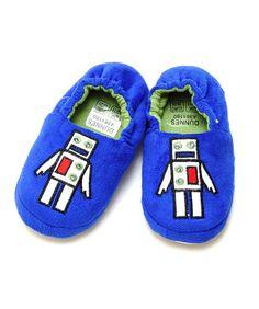 Boys Light-Up Blue Robot Slippers