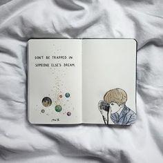(não fique preso no sonho de outra pessoa) Bullet Journal Art, Bullet Journal Ideas Pages, Bullet Journal Inspiration, Art Journal Pages, Drawing Journal, Art Sketchbook, Bts Drawings, Art Drawings Sketches, Drawing Quotes