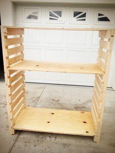 How to Build Garage Storage Shelf - How to Build Garage Storage Shelf , Home and Family Diy Adjustable Woodstorageshelves Wooden Storage Shelves, Diy Garage Storage, Garage Shelving, Pallet Shelves, Shed Storage, Storage Ideas, Storage Systems, Pipe Shelving, Ceiling Storage