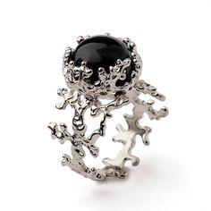 CORAL Black Onyx Ring, Sterling Silver Onyx Ring, Women's Onyx Ring, Statement Ring, Black Gemstone Ring by AroshaTaglia on Etsy https://www.etsy.com/listing/224389428/coral-black-onyx-ring-sterling-silver