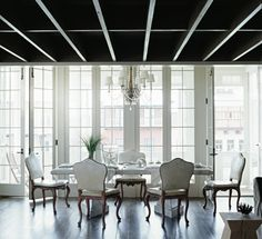 """""""You can put the dining area in a more vulnerable setting than any other room, because when people gather around a table, their circle creates its own enclosure. They could sit down to eat in a busy intersection and make their own space.""""  Bobby McAlpine – The Home Within Us"""