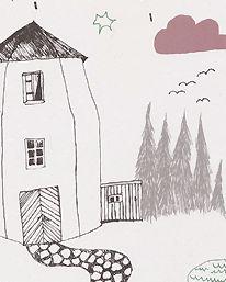 In the Rain - wallpaper - Illustration Ulrika Gustafsson -  Ferm Living