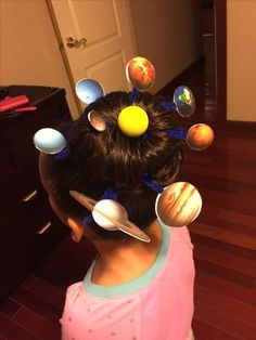 Solar system themed crazy hair day for Drug Free week. Crazy hair Solar system themed crazy hair day for Drug Free week. Crazy Hair For Kids, Crazy Hair Day At School, Crazy Hat Day, Crazy Hats, School Days, Little Girl Hairstyles, Cool Hairstyles, Girl Haircuts, Wacky Hair Days