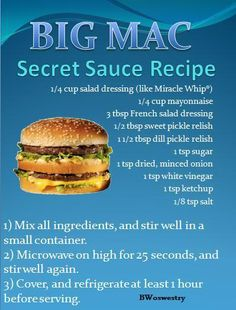 big mac sauce recipe, may have to try this when I have a craving for it and put it on a turkey burger