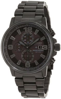 NEW Citizen Eco-Drive Nighthawk Black Chronograph Wrist Watch For Men Stainless Steel Screws, Stainless Steel Watch, Cheap Watches, Watches For Men, Men's Watches, Black Watches, Wrist Watches, Luxury Watches, Bulova