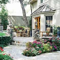 Carriage Lamps for Patio Lighting. Nice rock around the patio.