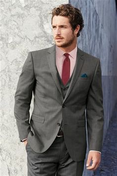 Buy Signature Grey Texture Tailored Fit Suit: Jacket from the Next UK online shop Best man/men & ushers would wear a grey suit, but with the same purple finishing, like waistcoat etc. to complete the colour theme x Apichaya Gray Jacket, Suit Jacket, Next Suits, Men Wearing Dresses, Next Mens, Three Piece Suit, Fitted Suit, Mens Clothing Styles, Men Dress