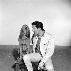 Kissin' Cousins (1964).  Publicity shot of Elvis Presley as Josh Morgan, with Hezikiah the hound dog.