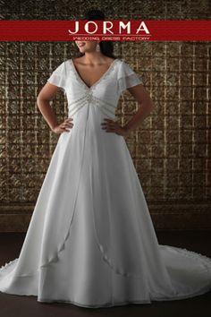 White V-Neck Plus Size Wedding Dresses WD6253